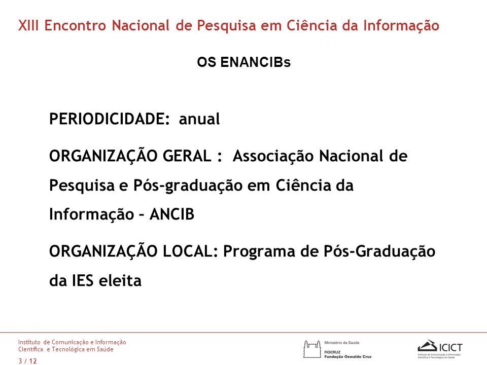 ORGANIZAÇÃO LOCAL: Programa de Pós-Graduação da IES eleita