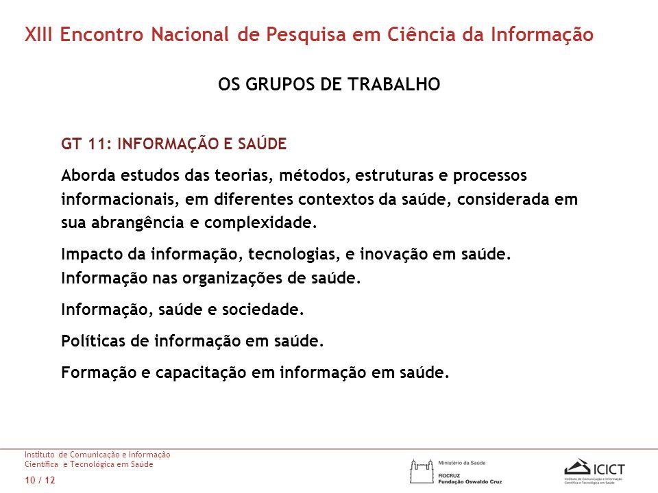 XIII Encontro Nacional de Pesquisa em Ciência da Informação