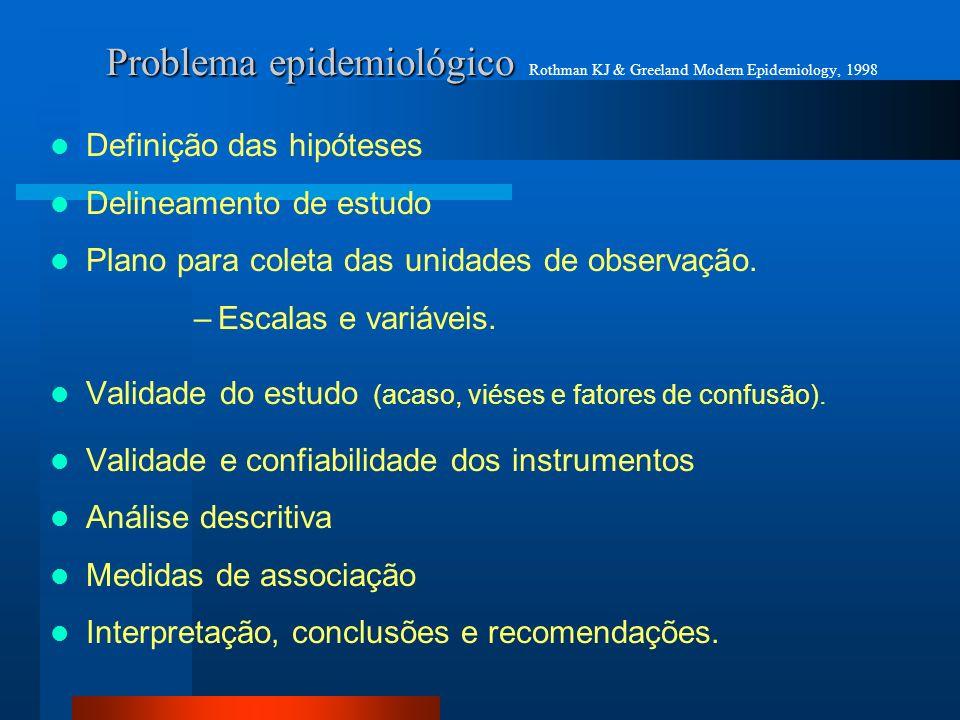 Problema epidemiológico Rothman KJ & Greeland Modern Epidemiology, 1998