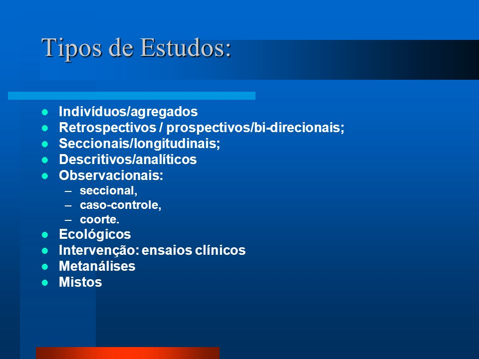 Tipos de Estudos: Indivíduos/agregados