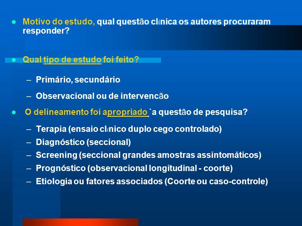 Motivo do estudo, qual questão clínica os autores procuraram responder