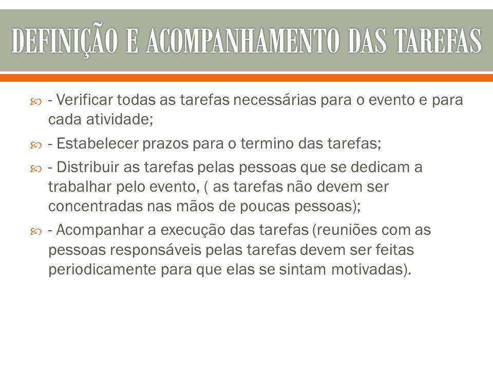 DEFINIÇÃO E ACOMPANHAMENTO DAS TAREFAS