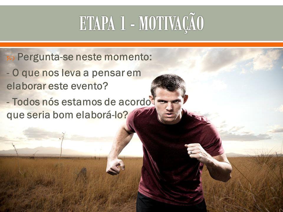 ETAPA 1 - MOTIVAÇÃO Pergunta-se neste momento: