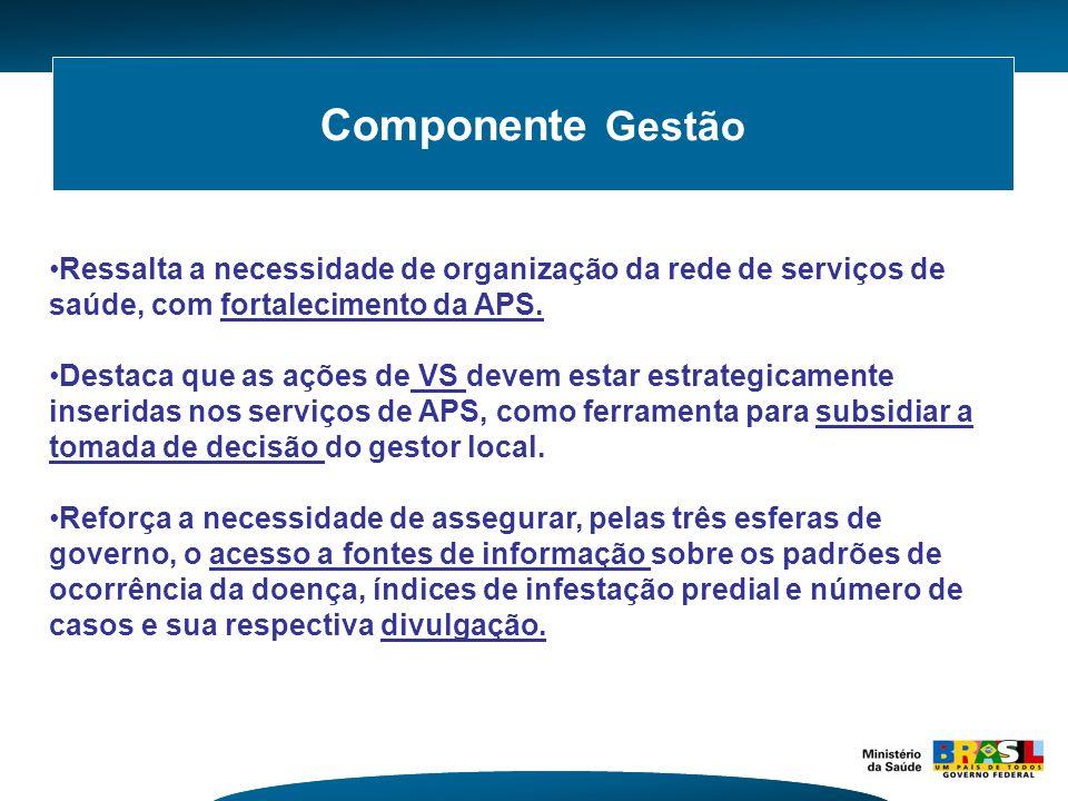 Componente Gestão Ressalta a necessidade de organização da rede de serviços de saúde, com fortalecimento da APS.