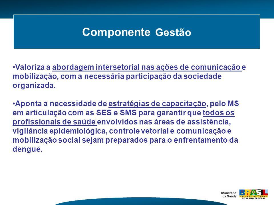 Componente Gestão Valoriza a abordagem intersetorial nas ações de comunicação e mobilização, com a necessária participação da sociedade organizada.