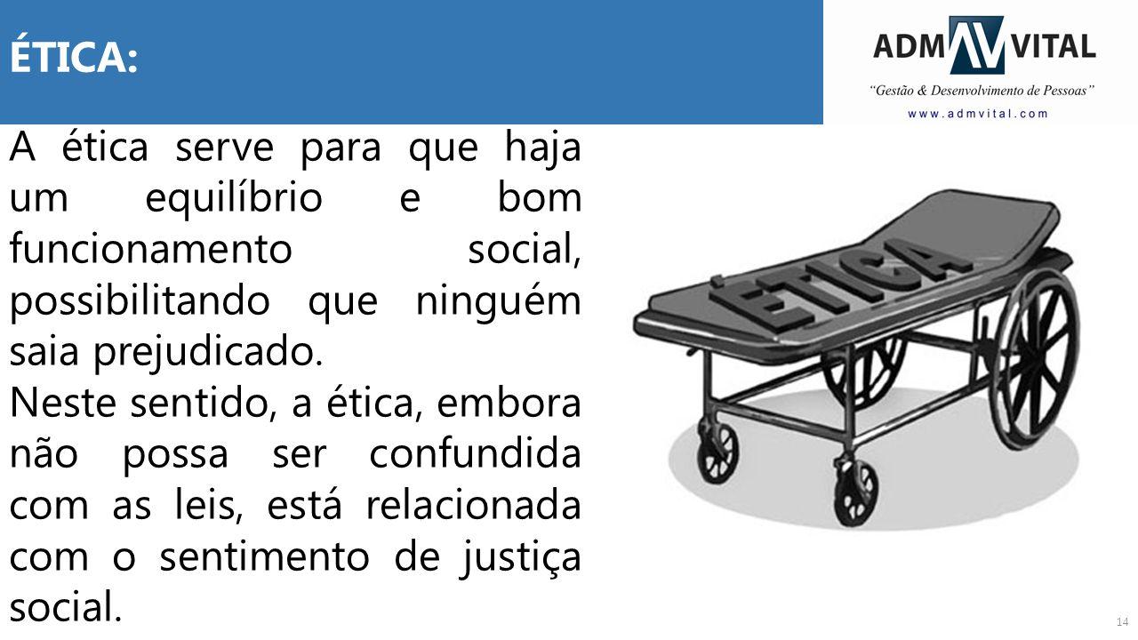 ÉTICA: A ética serve para que haja um equilíbrio e bom funcionamento social, possibilitando que ninguém saia prejudicado.