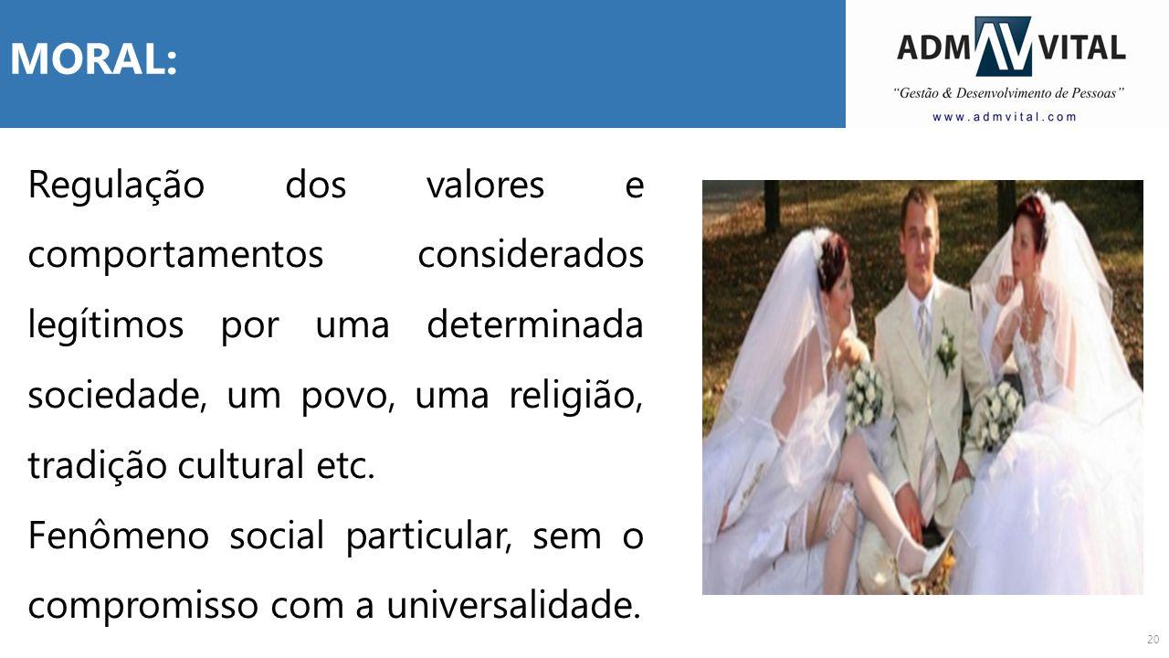 MORAL: Regulação dos valores e comportamentos considerados legítimos por uma determinada sociedade, um povo, uma religião, tradição cultural etc.