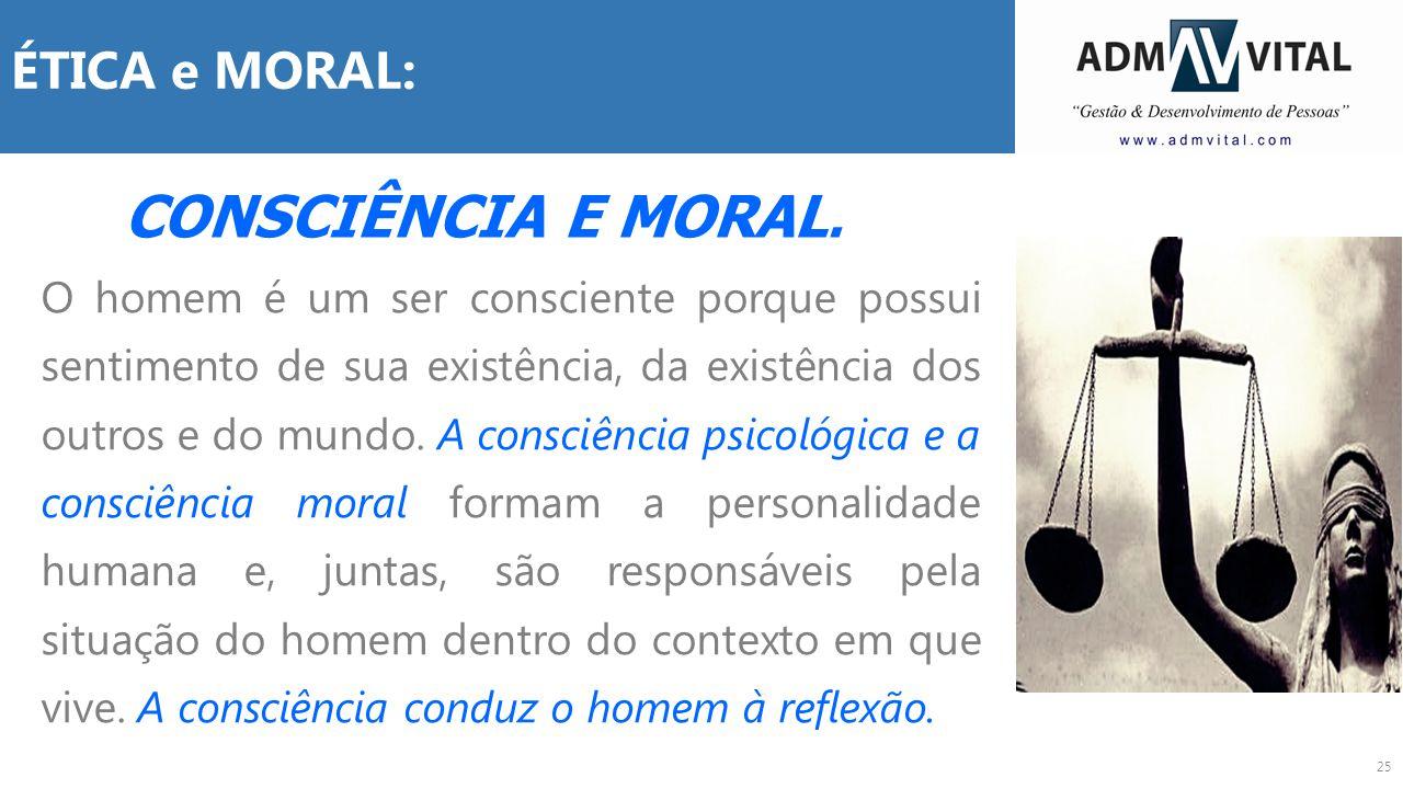 CONSCIÊNCIA E MORAL. ÉTICA e MORAL:
