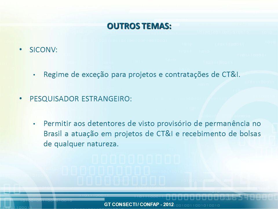 OUTROS TEMAS: SICONV: Regime de exceção para projetos e contratações de CT&I. PESQUISADOR ESTRANGEIRO: