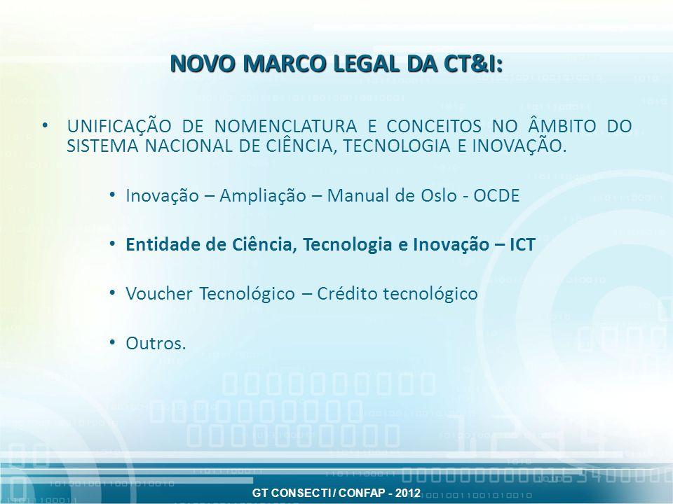 NOVO MARCO LEGAL DA CT&I: