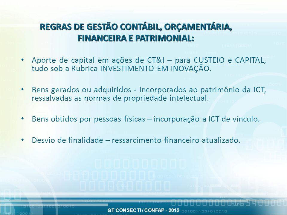 REGRAS DE GESTÃO CONTÁBIL, ORÇAMENTÁRIA, FINANCEIRA E PATRIMONIAL: