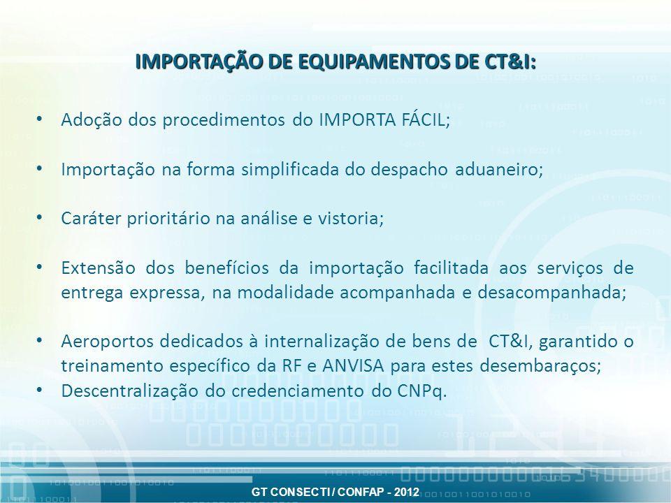 IMPORTAÇÃO DE EQUIPAMENTOS DE CT&I: