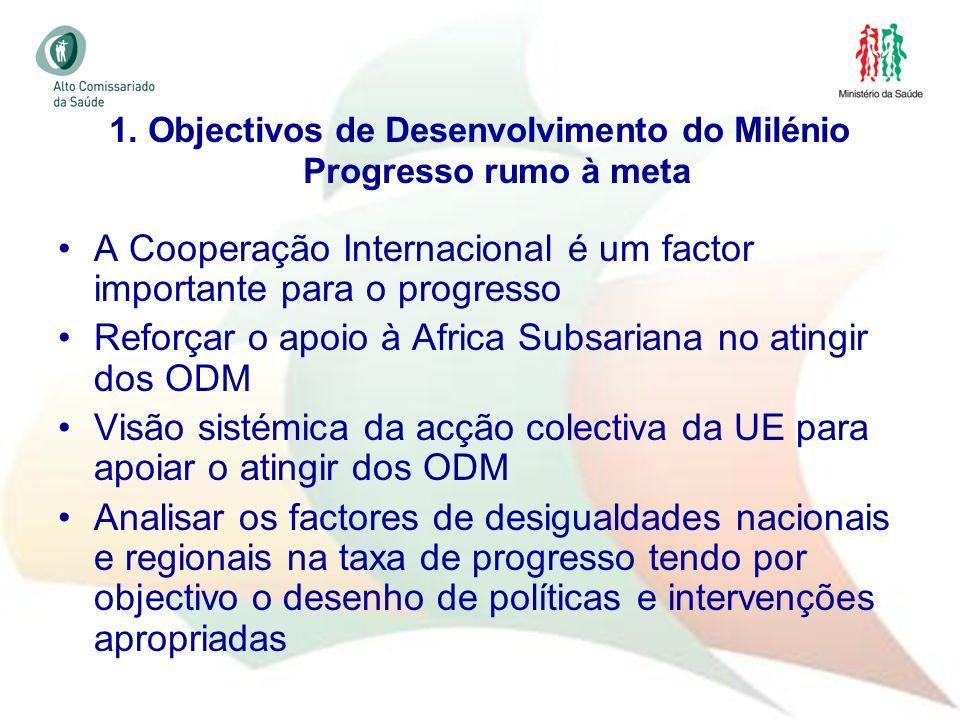 1. Objectivos de Desenvolvimento do Milénio Progresso rumo à meta