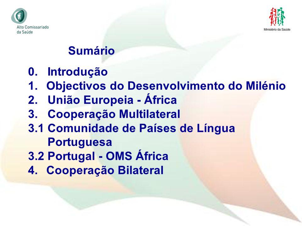 Sumário 0. Introdução. Objectivos do Desenvolvimento do Milénio. 2. União Europeia - África. 3. Cooperação Multilateral.