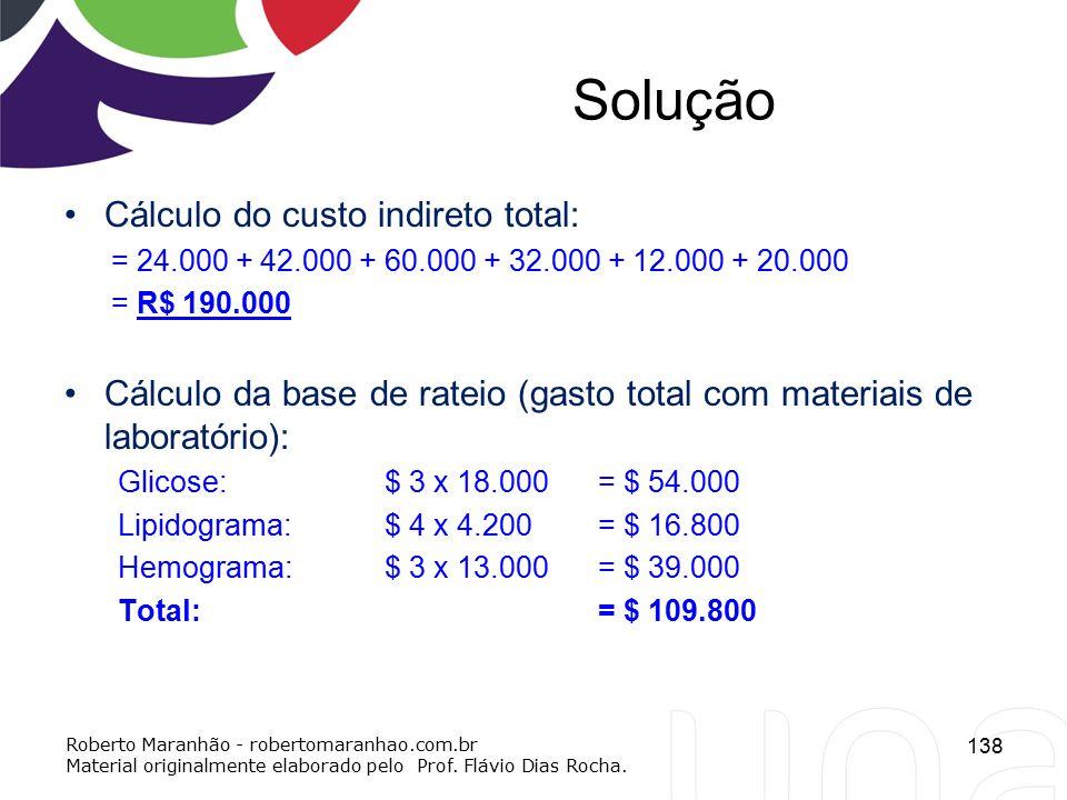 Solução Cálculo do custo indireto total: