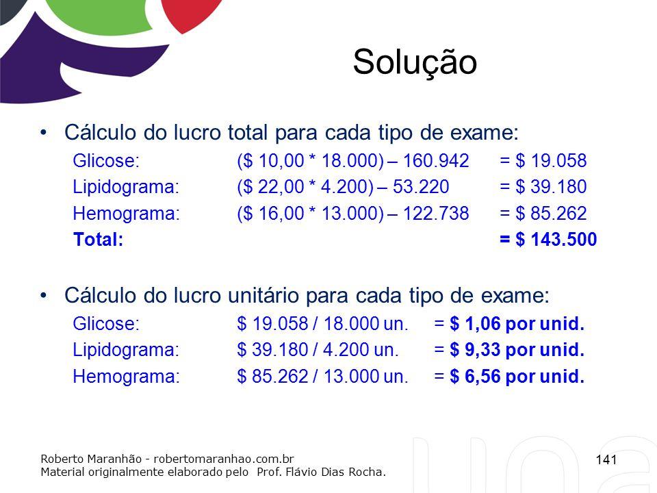 Solução Cálculo do lucro total para cada tipo de exame: