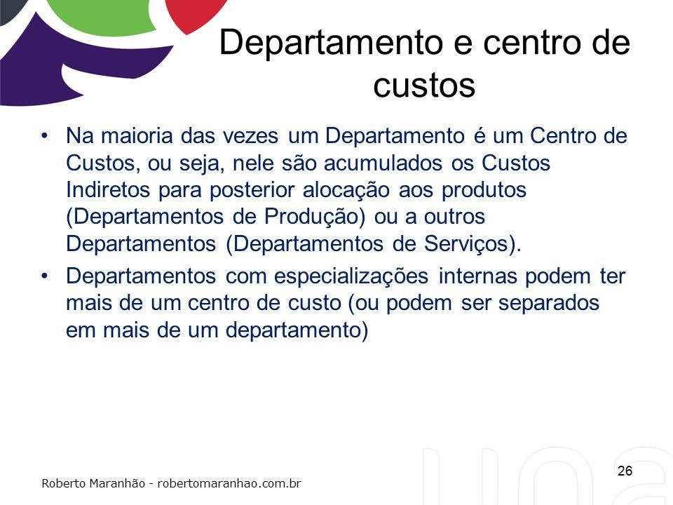 Departamento e centro de custos