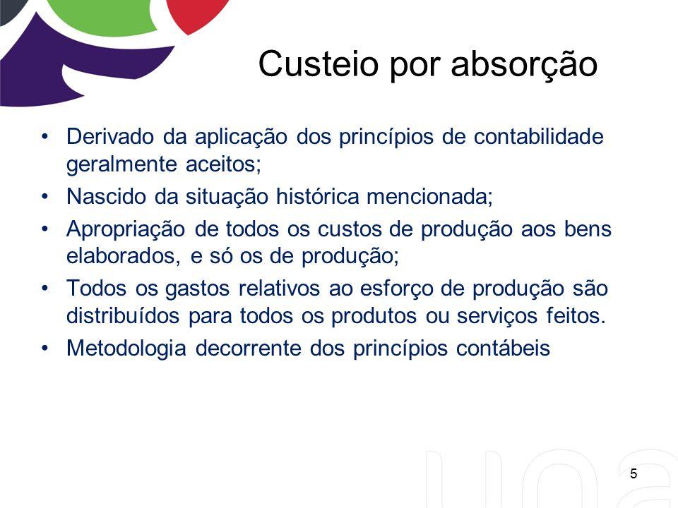 Custeio por absorção Derivado da aplicação dos princípios de contabilidade geralmente aceitos; Nascido da situação histórica mencionada;
