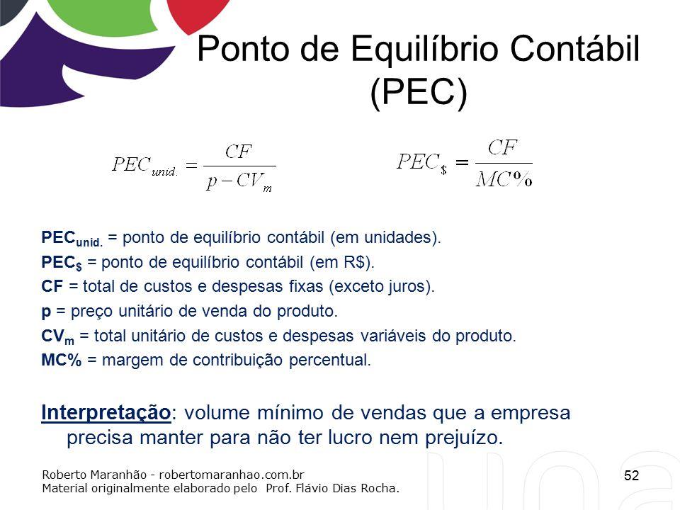 Ponto de Equilíbrio Contábil (PEC)