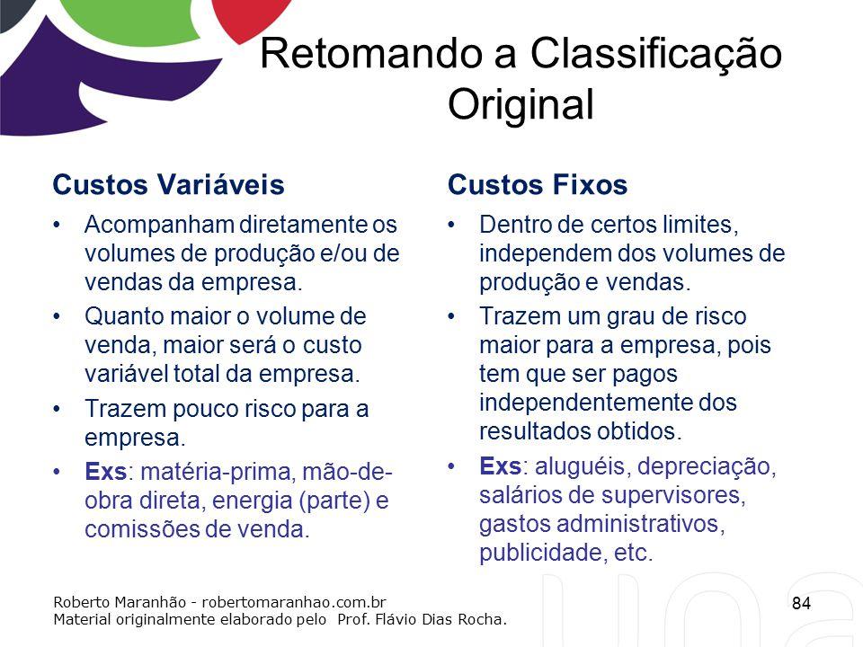 Retomando a Classificação Original