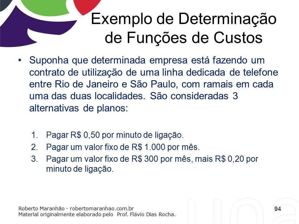 Exemplo de Determinação de Funções de Custos