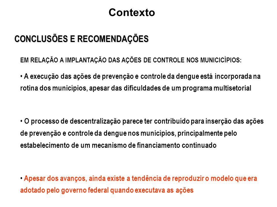 Contexto CONCLUSÕES E RECOMENDAÇÕES
