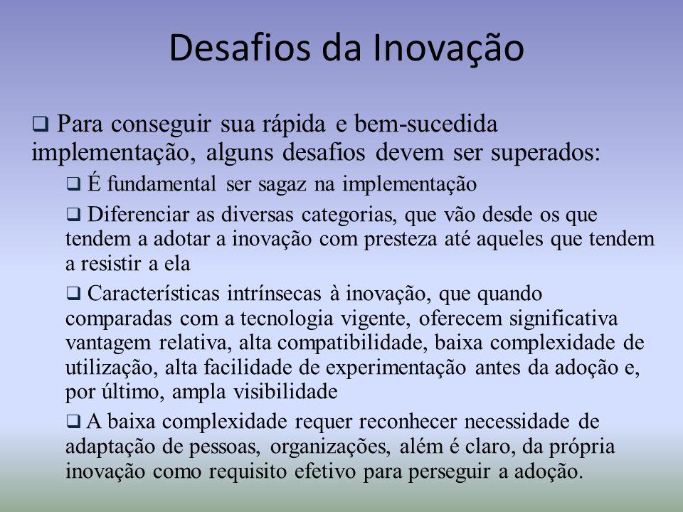 Desafios da Inovação Para conseguir sua rápida e bem-sucedida implementação, alguns desafios devem ser superados: