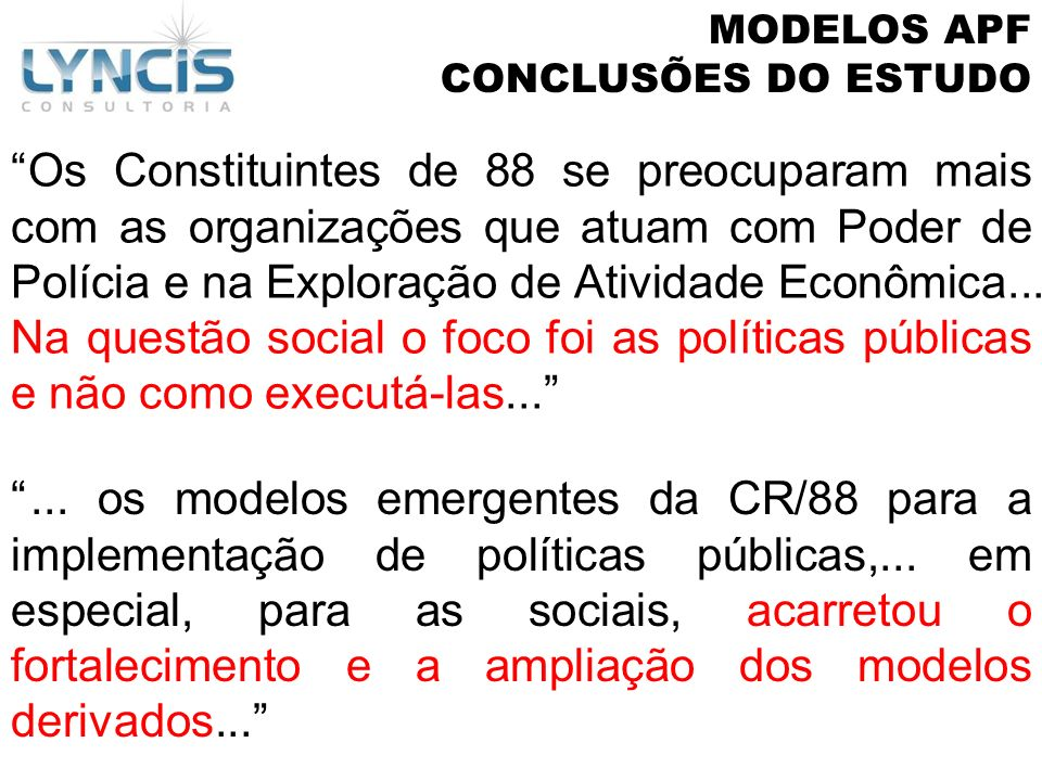 MODELOS APFCONCLUSÕES DO ESTUDO.