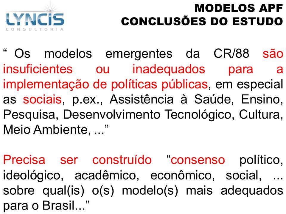 MODELOS APF CONCLUSÕES DO ESTUDO.