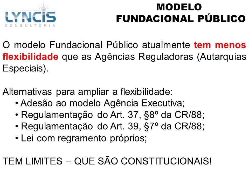 MODELOFUNDACIONAL PÚBLICO. O modelo Fundacional Público atualmente tem menos flexibilidade que as Agências Reguladoras (Autarquias Especiais).