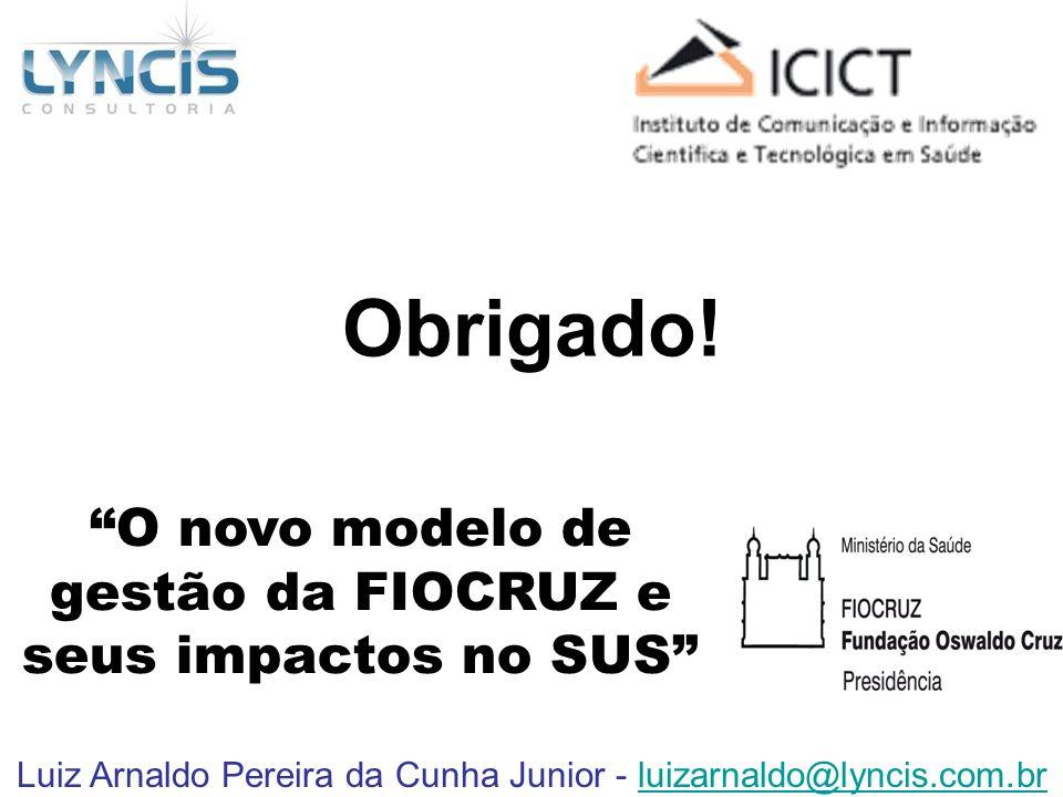 Obrigado! O novo modelo de gestão da FIOCRUZ e seus impactos no SUS