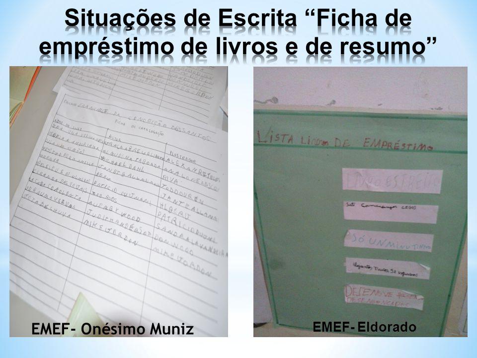 Situações de Escrita Ficha de empréstimo de livros e de resumo