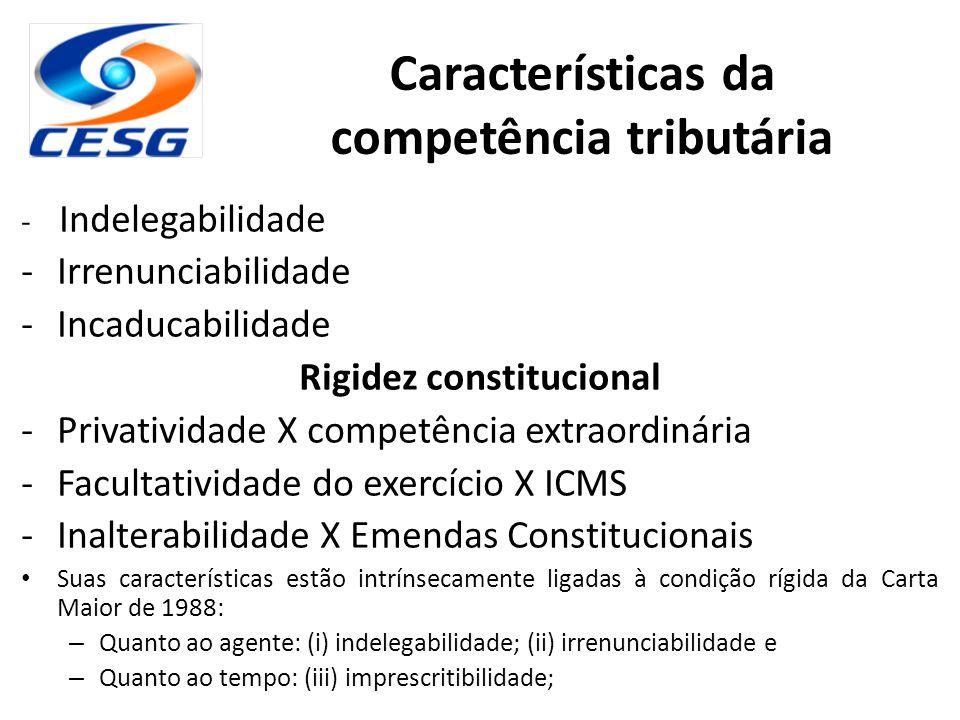 Características da competência tributária Rigidez constitucional