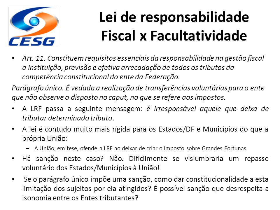 Lei de responsabilidade Fiscal x Facultatividade