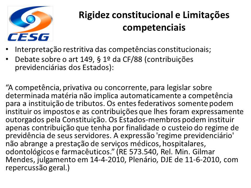 Rigidez constitucional e Limitações competenciais