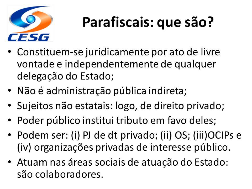 Parafiscais: que são Constituem-se juridicamente por ato de livre vontade e independentemente de qualquer delegação do Estado;