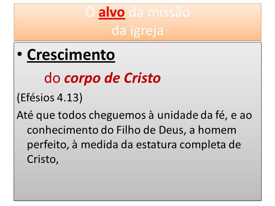 Crescimento O alvo da missão da igreja do corpo de Cristo