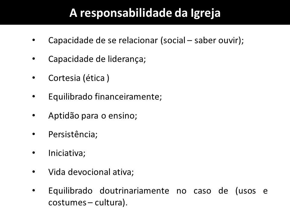 A responsabilidade da Igreja