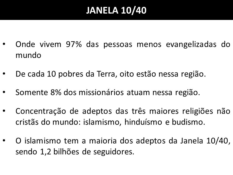JANELA 10/40 Onde vivem 97% das pessoas menos evangelizadas do mundo