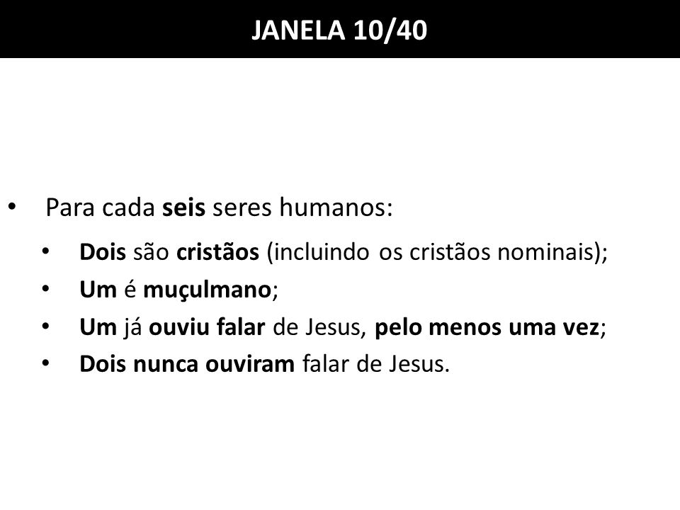 JANELA 10/40 Para cada seis seres humanos: