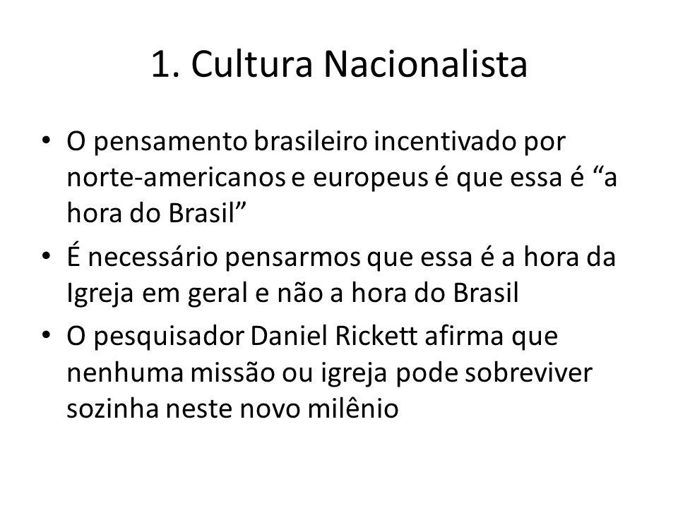1. Cultura Nacionalista O pensamento brasileiro incentivado por norte-americanos e europeus é que essa é a hora do Brasil