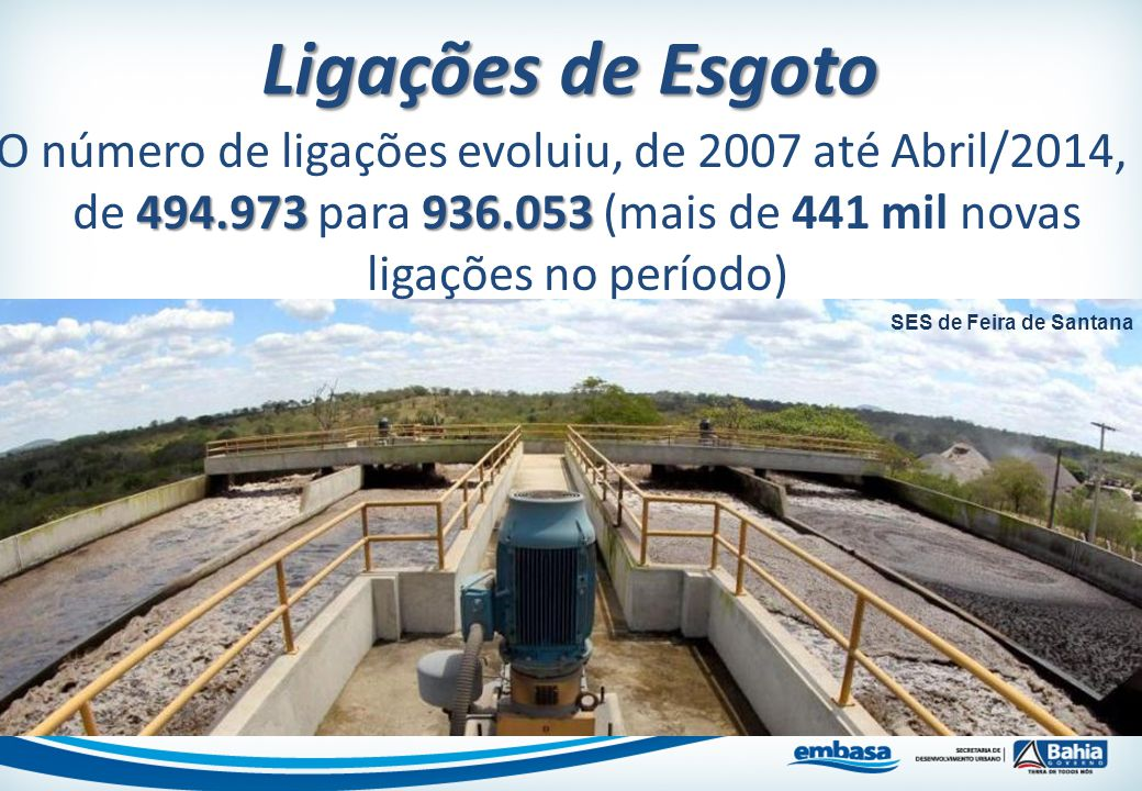 Ligações de Esgoto O número de ligações evoluiu, de 2007 até Abril/2014, de 494.973 para 936.053 (mais de 441 mil novas ligações no período)