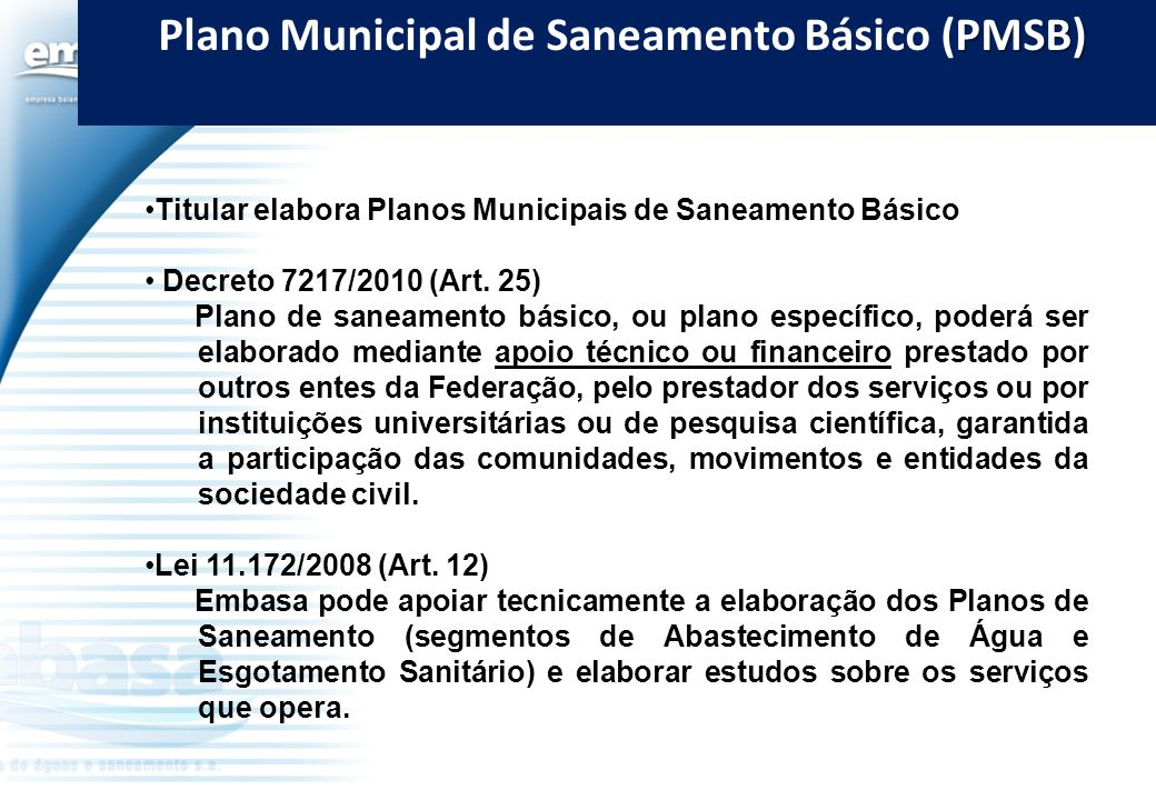 Plano Municipal de Saneamento Básico (PMSB)
