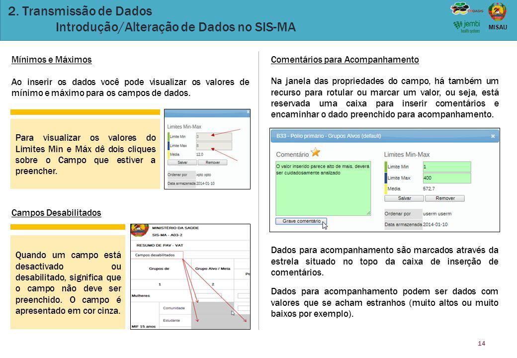2. Transmissão de Dados Introdução/Alteração de Dados no SIS-MA