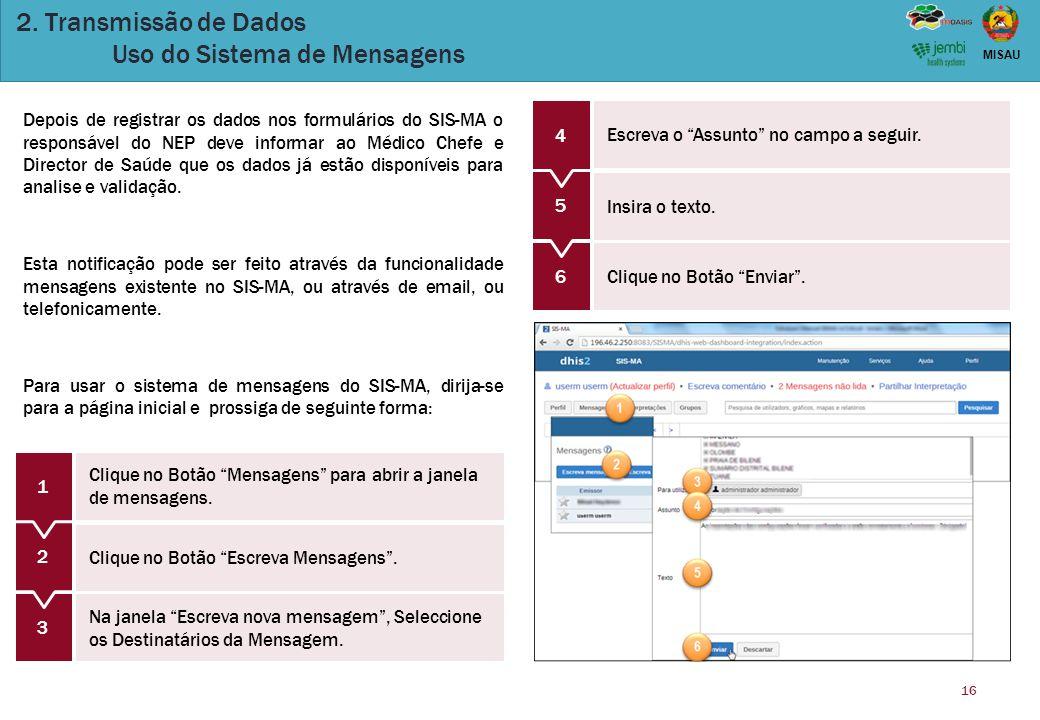 2. Transmissão de Dados Uso do Sistema de Mensagens