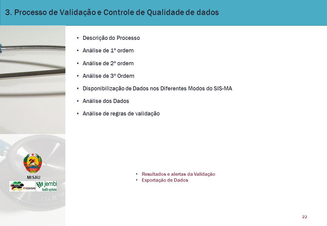 3. Processo de Validação e Controle de Qualidade de dados