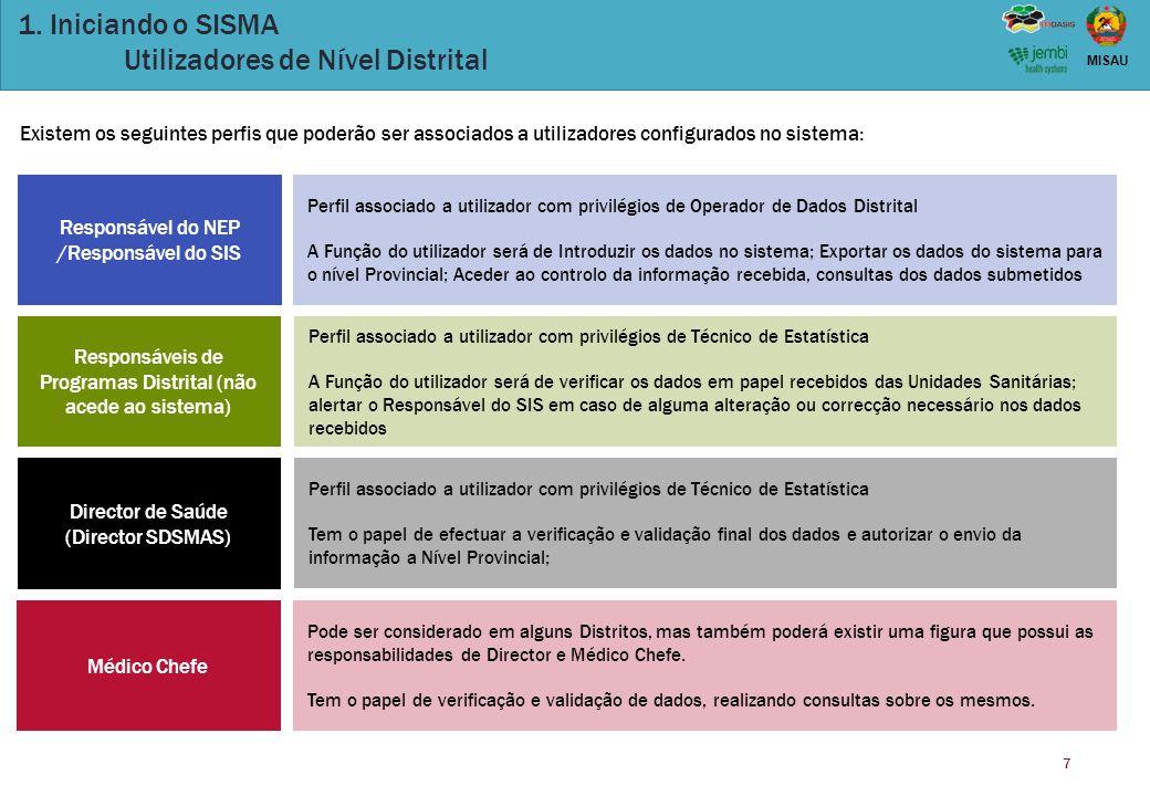 1. Iniciando o SISMA Utilizadores de Nível Distrital