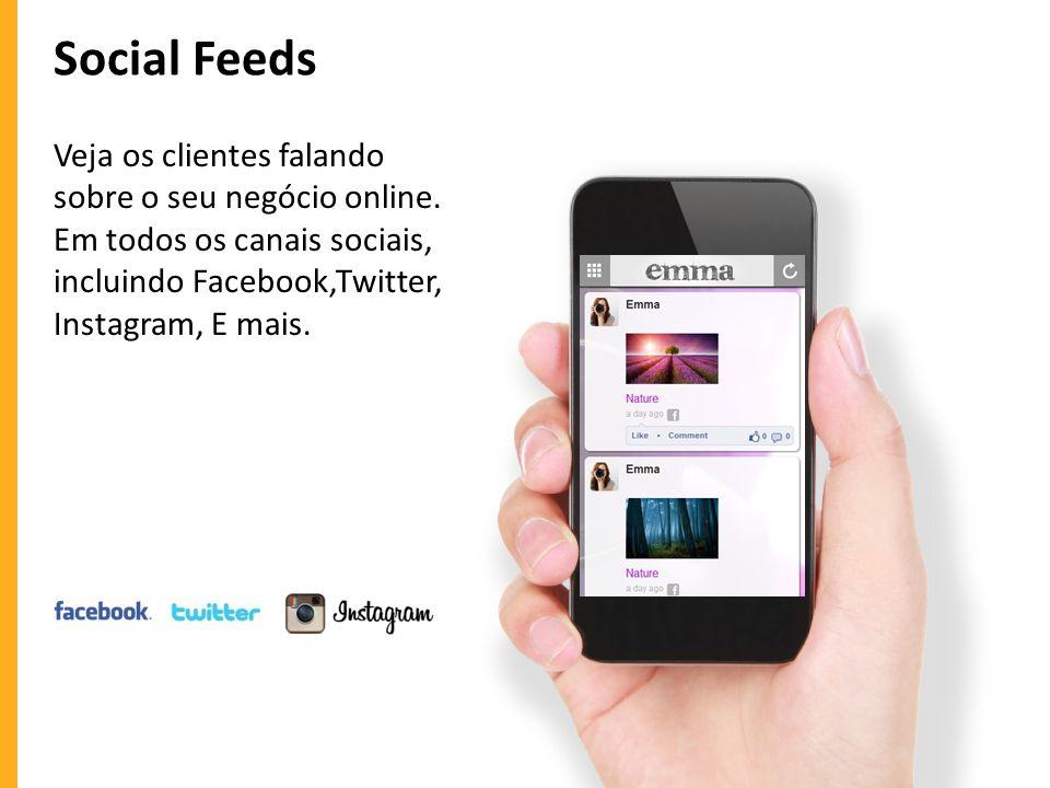Social Feeds Veja os clientes falando sobre o seu negócio online.