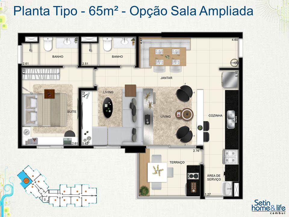 Planta Tipo - 65m² - Opção Sala Ampliada