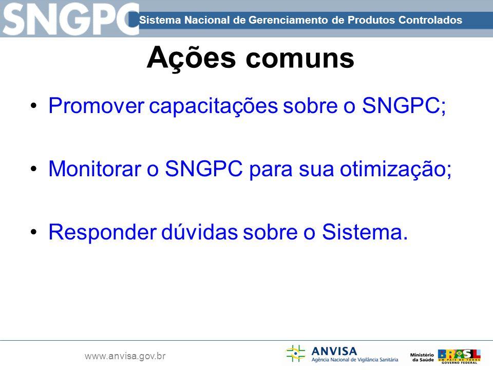 Ações comuns Promover capacitações sobre o SNGPC;